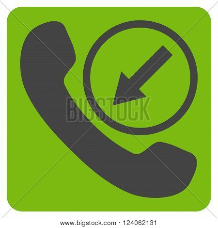 Incoming Call vector icon. Image style is bicolor flat incoming call icon symbol drawn on a rounded square with eco green and gray colors.