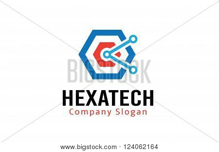Hexagon Tech Creative And Symbolic Logo Design Illustration