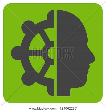 Intellect vector icon. Image style is bicolor flat intellect pictogram symbol drawn on a rounded square with eco green and gray colors.