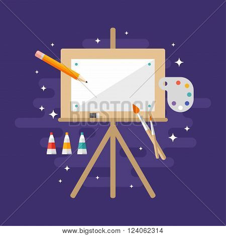 Wooden Easel with a Blank Canvas. Flat Style Vector Illustration. Profession Concept Painter