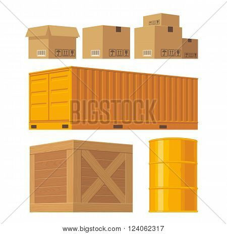 Brown carton packaging box pallet yellow container wooden crates metal barrel isolated on white background with fragile attention signs. Vector set illustration for icon banner infographic