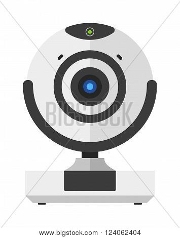Web camera vector illustration, online camera isolated on white background. Webinar web camera vector icon illustration. Web camera isolated vector. Web camera silhouette
