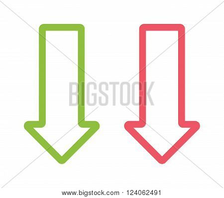 Red and green arrow sign design, arrow orientation link download play symbols. arrow orientation sign. Arrow two colored sign next direction vector illustration icon isolated.