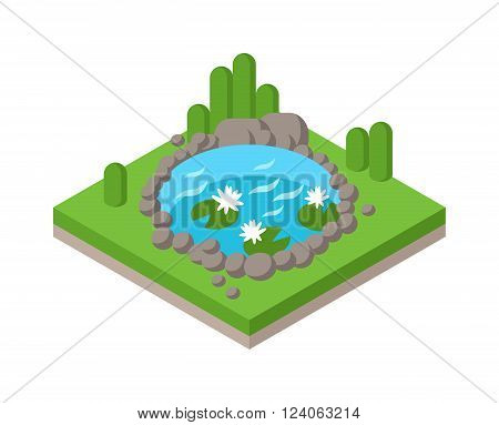 Relax by the isometric pond in forest park and pond landscape river isometric environment graphic collection vector. Flat 3d isometric pond outdoor vacation web infographics concept. Isometric water and tree