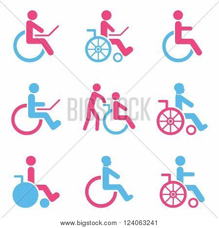 Disabled Persons vector icon set. Style is bicolor pink and blue flat symbols isolated on a white background.