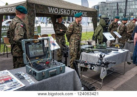 WARSAW, POLAND - MAY 08, 2015: Robot TALON reconnaissance / combat vehicle control board. 70th anniversary of End of WW II