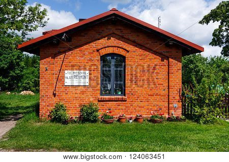 LIPCE, POLAND - MAY 17, 2015: Lineman House where Wladyslaw Reymont lived, famous Polish writer. Lipce Reymontowskie Village railways