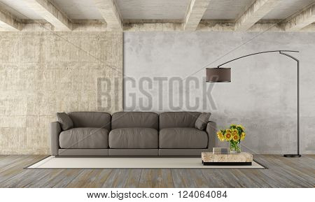 Grunge room with modern brown couchconcrete beams and dirty wooden floor - 3D Rendering