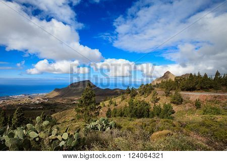 Mountain landscape on tropical island Tenerife, Canary in Spain. Beautiful scene on El Teide volcano.