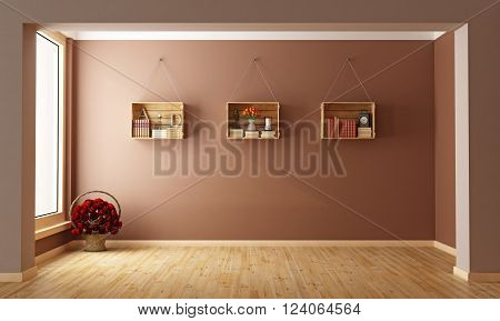 Empty living room with wooden crates on wall - 3D rendering