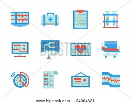 Health care and medical equipment and elements. Cardiology and diagnostics. Heart treatment. Collection of flat style blue and red vector icons. Elements for web design, website, mobile app.