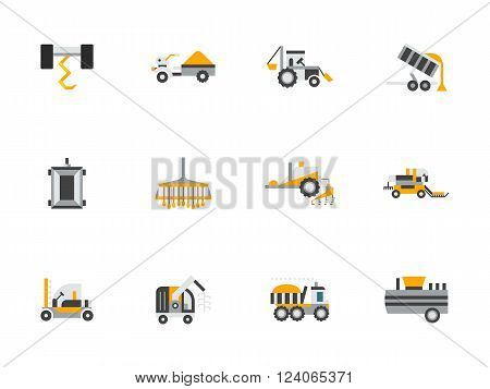Agricultural vehicles, farming machinery. Combine, harvester and tractor. Agricultural industry. Collection of flat style colorful vector icons. Elements for web design, website, mobile app.