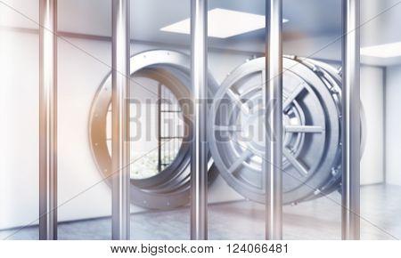 Open safe door behind bars. Concept of saving money. 3D rendering