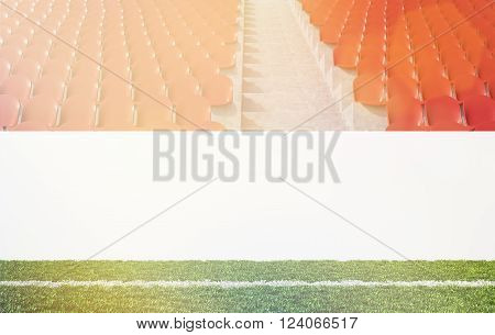 Blank banner around pitch, red seats. Front view. Concept of sport advertising. Mock up. 3D rendering