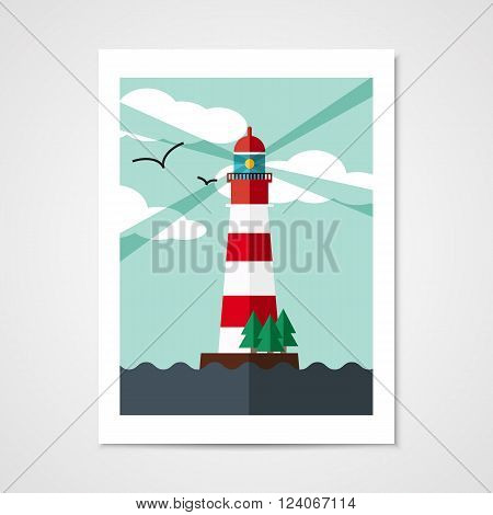 Poster with red beacon on island in flat style