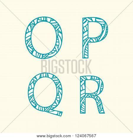 Doodle alphabet. Letter O P Q R.