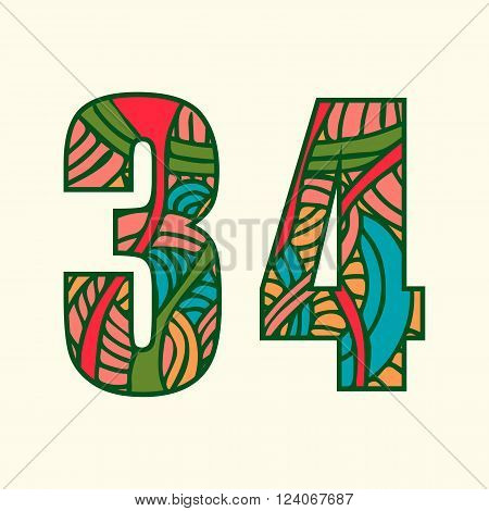 Set of doodle numbers including two numbers with abstract pattern on them. Numbers three and four.