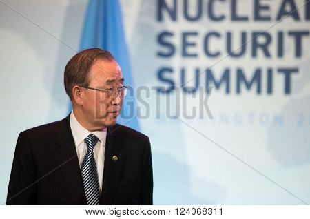 WASHINGTON D.C. USA - Apr 01 2016: UN Secretary General Ban Ki-moon during the Nuclear Security Summit in Washington