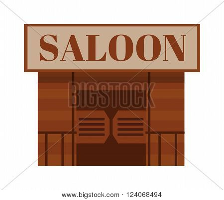 Saloon antique cowboy building and saloon texas traditional house. Saloon western bar. Conceptual cartoon western saloon representing mix of texas and mexican cultures with doors american vector.