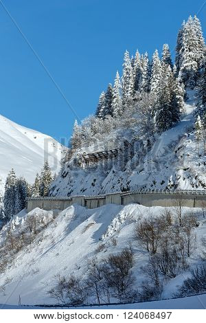 Winter mountain landscape with snowy fir and road on slope (Austria, Tyrol).