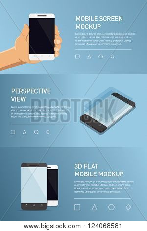 Set Of Minimalistic 3D Isometric Illustration Cell Phone. Perspective View. Mockup Generic Smartphon