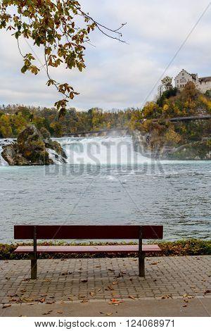 Rhine waterfalls and Castle Laufen near Schaffhausen in Switzerland.