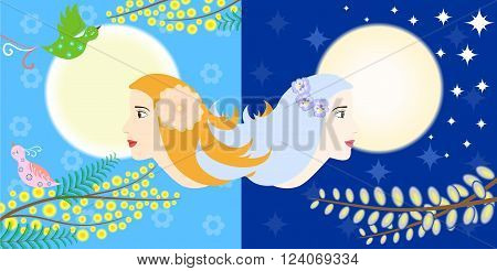 Illustration - concept - on the theme of two opposites - night and day.