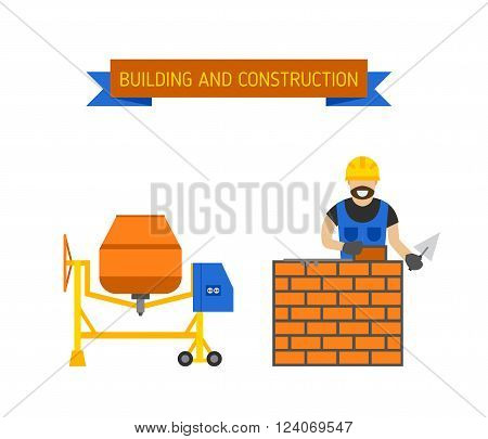 Builders people in hardhats with plastering tools indoors brick wall, trowel concrete mixer. Builders people concept. Business, builders people building, teamwork professional worker vector concept.