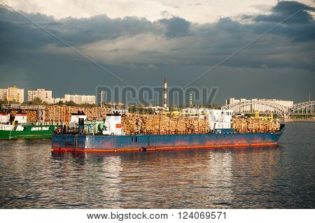 Large container vessel in Neva river in Saint-Petersburg, Russia.