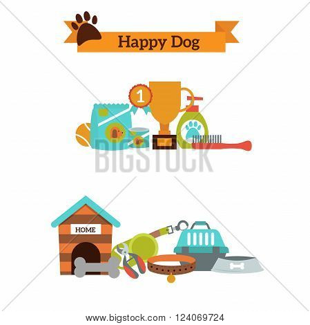 Modern style design elements dog symbols life, supplies and dog symbols services knowledge. Dog cartoon animal symbols. Abstract vector set of color icons for dog pet food, pet accessories vector.