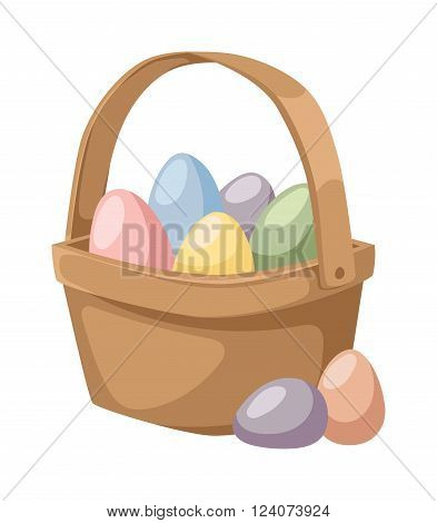Color easter egg cartoon spring decoration and food egg symbol flat illustration. Colorful easter egg traditional painted easter food, easter egg seasonal ornament. Easter holiday egg