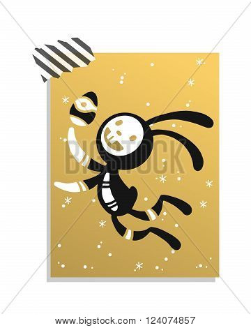 Greeting card Easter rabbit vector illustration. Funny bunny easter rabbit. Easter Bunny greeting card. Easter vector icons. Easter bunny cartoon flat style icons. Easter flat rabbit bunny vector