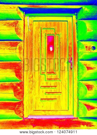 Detail Of Doors In Beams Wall In Cabin. Traditional Construction Of Wooden House In  Thermography Sc