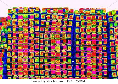 Outside Stock Of Old Manufactured Wooden Standard Euro Pallets  In Thermography Scan.