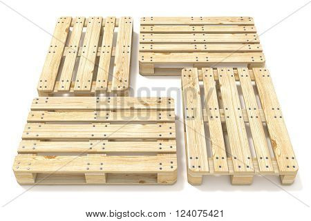 Wooden Euro pallets. Side view. 3D render illustration isolated on white background
