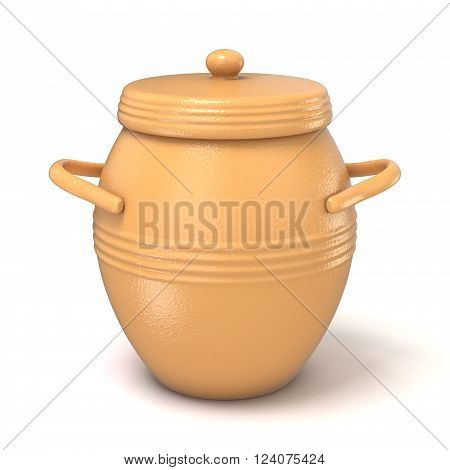 Clay pot with lid. 3D render illustration isolated on white background
