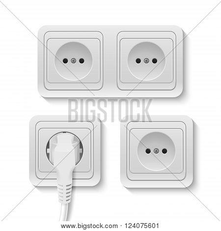 Set of realistic plastic power sockets isolated on white. Vector EPS10 illustration.