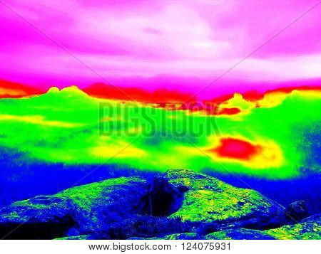 Rock with trees above misty valley. Fantastic infrared scan of hilly landscape. Hill and forest with colorful fog, hot sunny sky above.