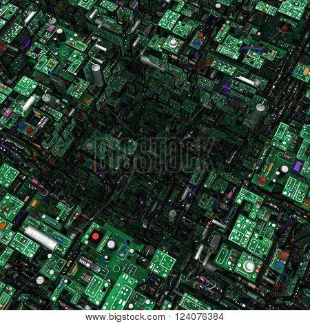 Electronic circuit elements complex 3d illustration square hole
