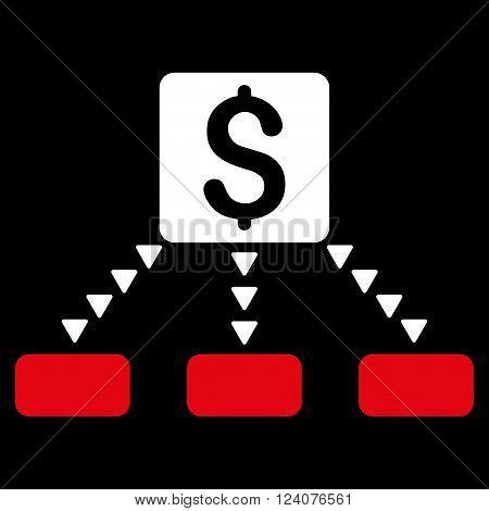 Cashout Scheme vector icon. Cashout Scheme icon symbol. Cashout Scheme icon image. Cashout Scheme icon picture. Cashout Scheme pictogram. Flat red and white cashout scheme icon.
