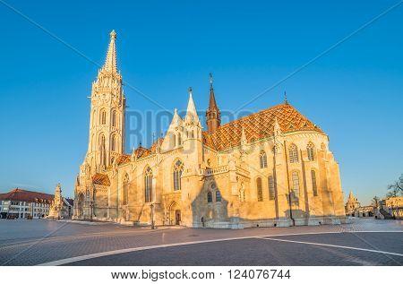 Sunlit Roman Catholic Matthias Church in Early Morning in Budapest Hungary