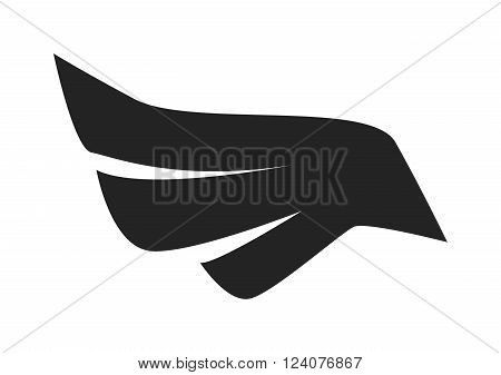 Black bird wings on white background vector. Black silhouette of wings flat style. Black wings
