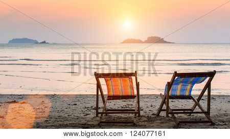 Sun loungers on the sea beach.