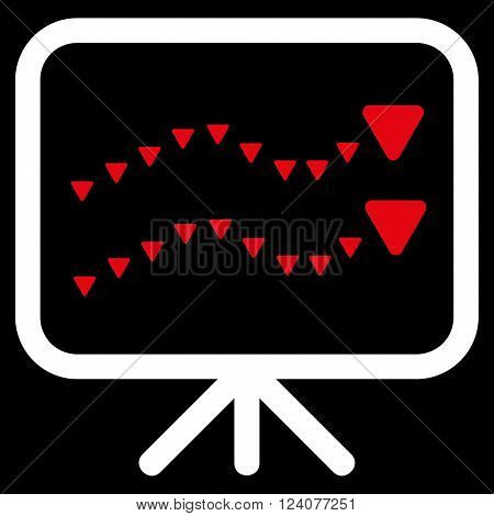 Dotted Trends Board vector icon. Dotted Trends Board icon symbol. Dotted Trends Board icon image. Dotted Trends Board icon picture. Dotted Trends Board pictogram.