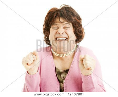 Humorous picture of a female impersonator who is really excited. Isolated on white.