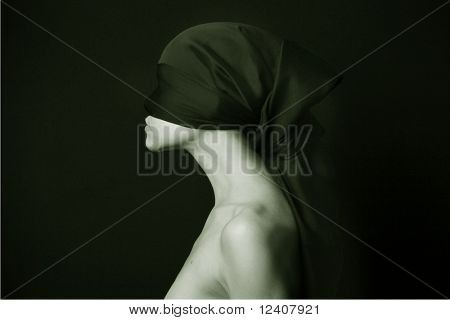 Naked (nude) woman with  black bandage.  Artistic photo.