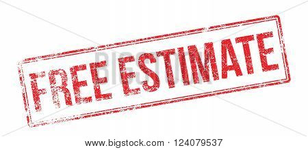 Free Estimate Red Rubber Stamp On White