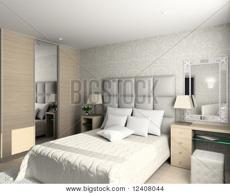 modern design of interior. Bedroom. 3D render.