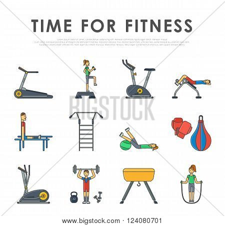 Vector illustration of gym equipment and training body gym sport equipment thin outline style. Fitness sport gym exercise equipment workout flat set concept vector illustration.