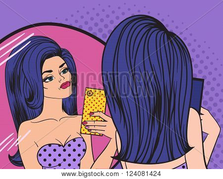 Sending kisses pop art selfie girl holding phone and instagram selfie pop art girl. Hipster selfie pop art girl attractive person. Pretty hipster girl taking selfie and making duck face pop art vector